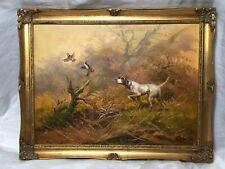 Oil Painting Hunting Gun Dog & Grouse In Flight Listed Artist Eugene Kingman