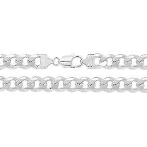 "Sterling Silver Mens 11mm Flat Classic Curb 8.5"" / 21cm Bracelet (1006) *"