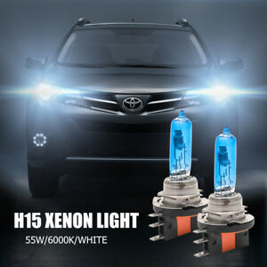 2x H15 55W DRL Super White High Low Beam  DRL Bulb Halogen Bulb Light Globe12V