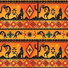 Fabric Native American Kokopelli Wolf Cactus Border on Orange Cotton 1/4 Yard
