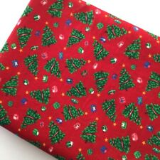 Christmas Quilting Cotton Fabric 2y Trees Vintage 80 Cranston Holiday