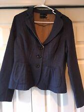 Rena Lange Cashmere Wool Blazer Jacket Medium 8 Blue Denim Dress Casual