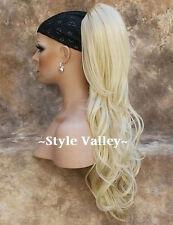 Light Blond Ponytail Extension Wavy Clip in LONG Bleach Blonde Hair Piece