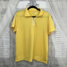 Nike Golf Men Size XL Solid Yellow Half Zip Polo Collared Shirt Short Sleeve B17