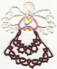 Tatting Tatted Angel white and pastel/burgandy size 10 thread