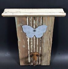 Shabby Chic Weathered Coat, Hat, Keys Hook Hanger Handmade Rustic Wood Butterfly