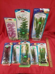 Set of 8 - Aquarium Fish Tank Plastic Plants Decor Decorations -Still in package