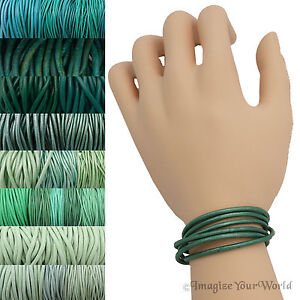 Teal Leather Cord Multi Wrap Bracelet Custom Handmade to 72 inches USA necklace