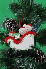 Personalizado De Árbol De Navidad Decoración Ornamento Trineo familia de 2