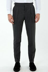 Jack Martin - Grey Flannel Pleated Trousers. Mens Smart Casual & Wedding Pants