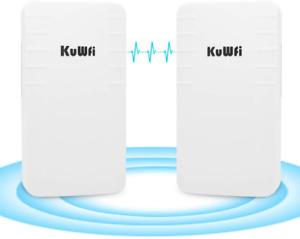 Kuwfi Wireless Wifi Bridge Outdoor Cpe Kit Point To Point 2.4g 300 Mbps New