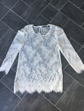 Massimo Dutti Cream Floral Lace Scallop Hem Top Size Eur 38 Small Worn Once