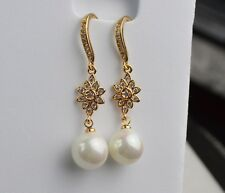 Beautiful Yellow Gold Plated Flower & Pearl Drop Dangle Hook Earrings