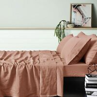 4 Pce 100% Linen Burnt Melon Sheet Set - QUEEN KING Super King