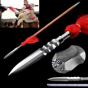 Spear Pike Lance Pattern Steel Spearhead Blade Sharp Sword Wood Handle #0104