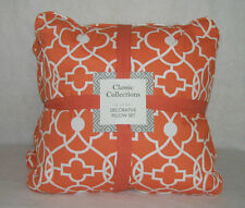 "CLASSIC COLLECTIONS ORANGE SHERBET ACCENT / TOSS PILLOW SET  -  20"" X 20"" - NEW"