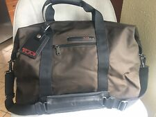 Tumi Brown Nylon Black Leather Large Weekend Travel Satchel Duffel Bag
