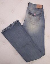 "TRUE RELIGION Boot Cut ""Becky"" Jeans w/ Pink Crystal Flowers at Pockets - 27"