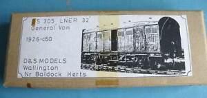 Boxed D & S 4mm Brass & White Metal Kit DS 305 - LNER 4 Wheel 32' General Van