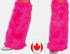 HOT PINK FURRY LEG WARMERS Halloween Costume Rave Disco, Sexy Kitty  one size