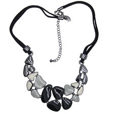 Lia sophia jewelry black leather chain cluster enamel bib pendant necklace