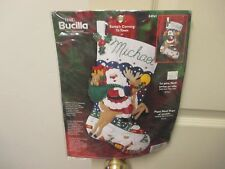 "NEW Bucilla Stocking Felt Santa's Coming to Town Christmas Kit 18"" Rudolph 84941"