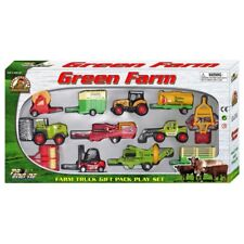12 PIECE DIECAST & PLASTIC TRACTOR & FARM VEHICLES TRUCKS TOY PLAY SET GREEN
