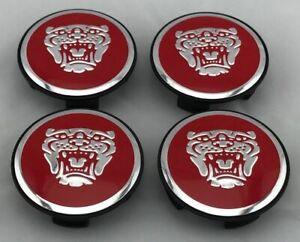 NEW Set of 4x Center Wheel Hub Caps 59MM Red/Chrome S-typ3 X-Typ3 XJR-typ3