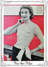 "NORMAN HARTNELL SASH WAIST SWEATER Vintage 1950s Knitting Pattern 32-42"""