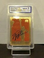 MICHAEL JORDAN  AUTOGRAPH Card with SERIAL# - REAL BASKETBALL ON CARD  GRADED 10