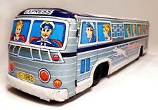 VINT (JAPAN) 1950'S PRESSED TIN LITHO GREYHOUND EXPRESS BUS TOY, W/RUBBER WHEELS