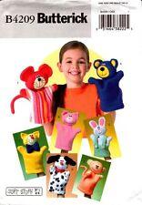 Butterick Sewing Pattern B4209 4209 Animal Hand Puppets