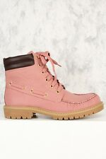 New Women Hi Top Lace Up Military Combat Ankle Booties Boot Hiking Work Lug Sole