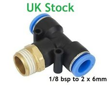 T shape couplers 1/8 bsp to 2x 6mm pipe Quick connection Push to fit coupler