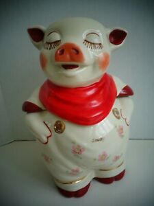 """Shawnee Pottery """"Smiley"""" Pig Cookie Jar with a Red Scarf"""