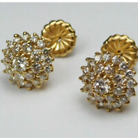 Vintage 14k Yellow Gold Finish Round Cut 1.00 ct Diamond Cluster Stud Earrings