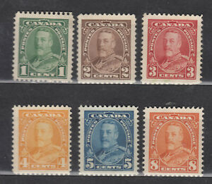 1935 #217 - #222 1¢ - 8¢ KING GEORGE V PICTORIAL ISSUE F-VFNG