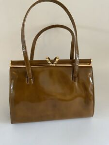 Vintage 1950s Handpag Brown Patent Leather Suede Jacque Maurice Retro