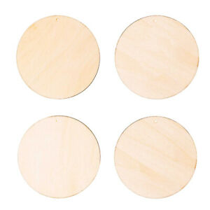 4 Natural Untreated Wooden Circles or Baubles with Hanging Holes - 7.5cm Tags