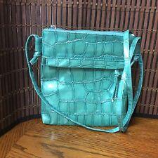 Evening Cross Body Bag Blue Green Reptile Embossed H5