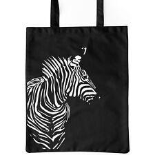 Jutebeutel Zebra schwarz Baumwolle lange Henkel Tasche