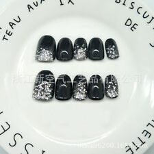 Nail Art 24pcs Black False Nails Short w/ Silver Glitters Nail Tips Nail Patches