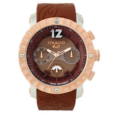 Mulco Womens Nuit Brown Silicone Band Steel Case Swiss Quartz Watch MW5-1876-033