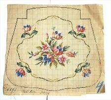 ANTIQUE ORIGINAL BERLIN WOOLWORK HAND PAINTED CHART PATTERN TULIPS & FLOWERS