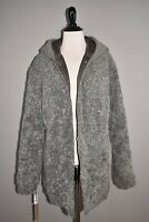 HALOGEN NEW $159 Gray Reversible Faux Fur Hooded Coat Medium
