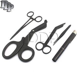Shears; EMT/Scissors combo pack w/holster Tactical Black scissors forceps light