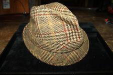 Vintage Cavanagh New York Fedora Hat Tweed 100% Wool w/ Feather  Approx 7-1/4