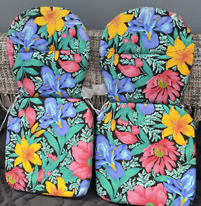 Two Retro Vintage 70s/80s Garden Chair Cover Seat Pads Black & Floral Fabric