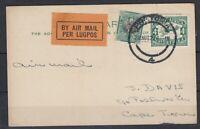 South Africa 1929 Airmail Postcard Pretoria To Cape Town Postal History J5700