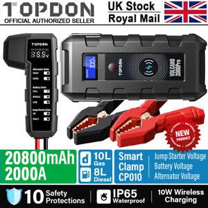 UK TOPDON 20800mAH 12V Smart Car Jump Starter Booster Battery Charger Power Pack